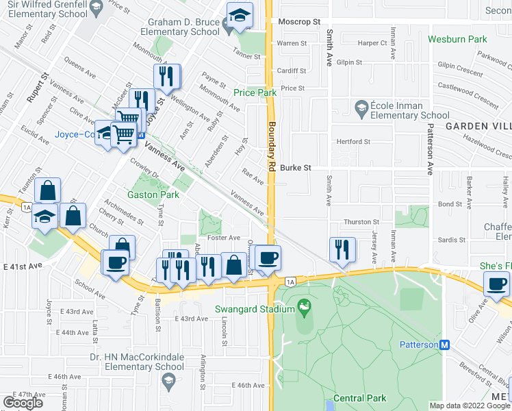 map of restaurants, bars, coffee shops, grocery stores, and more near 3679 Vanness Avenue in Vancouver