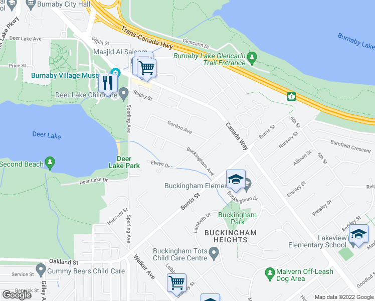 map of restaurants, bars, coffee shops, grocery stores, and more near 5599 Buckingham Avenue in Burnaby