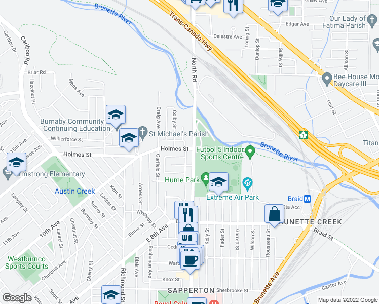 map of restaurants, bars, coffee shops, grocery stores, and more near 615 East Columbia Street in New Westminster