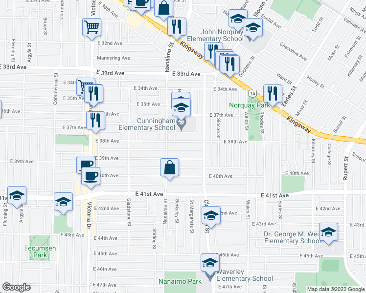 map of restaurants, bars, coffee shops, grocery stores, and more near 2384 East 38th Avenue in Vancouver