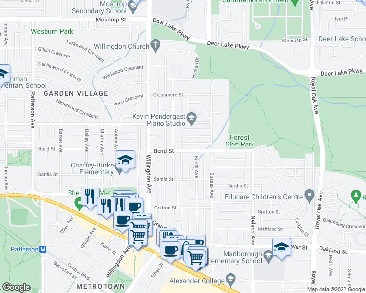 map of restaurants, bars, coffee shops, grocery stores, and more near 4629 Bond Street in Burnaby
