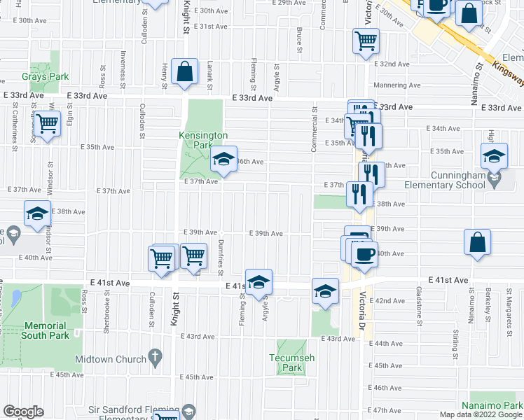 map of restaurants, bars, coffee shops, grocery stores, and more near 5389 Argyle Street in Vancouver