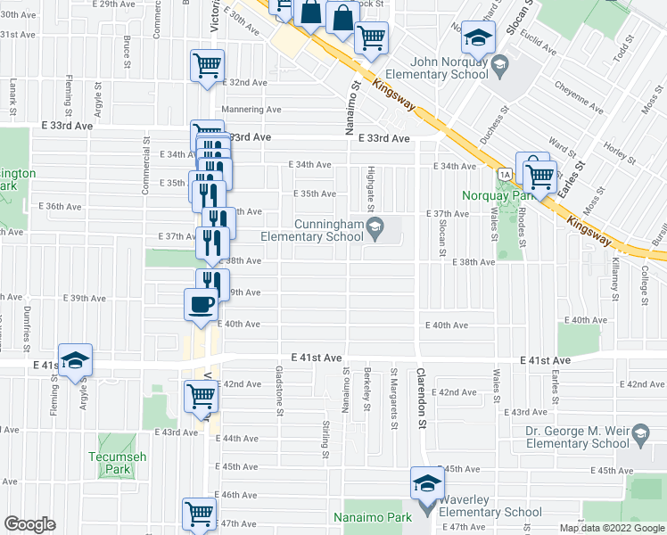 map of restaurants, bars, coffee shops, grocery stores, and more near 2280 East 38th Avenue in Vancouver