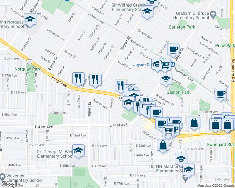 map of restaurants, bars, coffee shops, grocery stores, and more near 3103 Kingsway in Vancouver