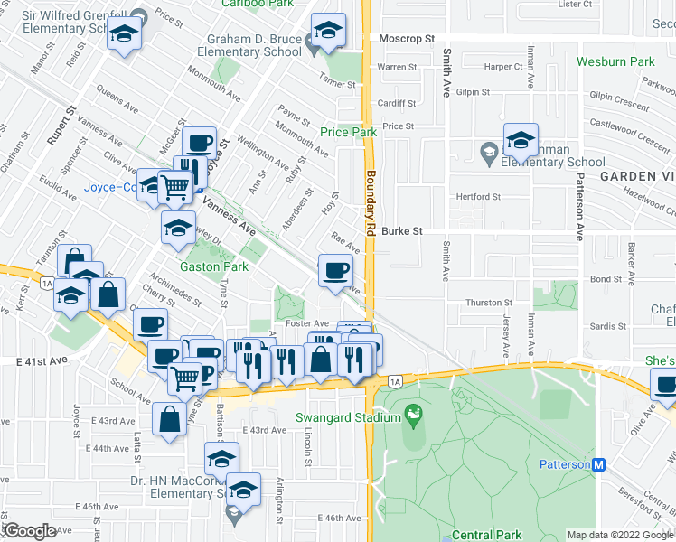map of restaurants, bars, coffee shops, grocery stores, and more near 3659 Vanness Avenue in Vancouver