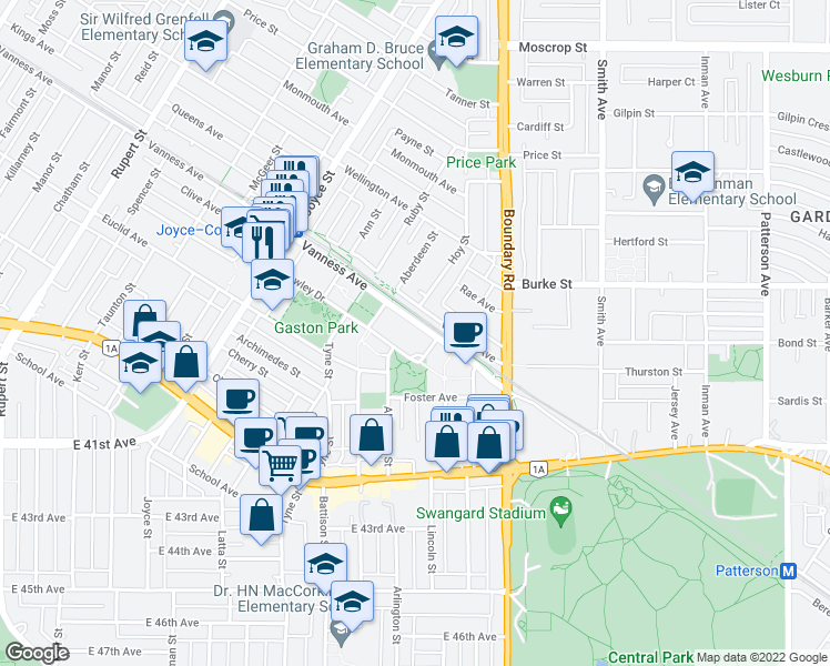 map of restaurants, bars, coffee shops, grocery stores, and more near 3638 Vanness Avenue in Vancouver