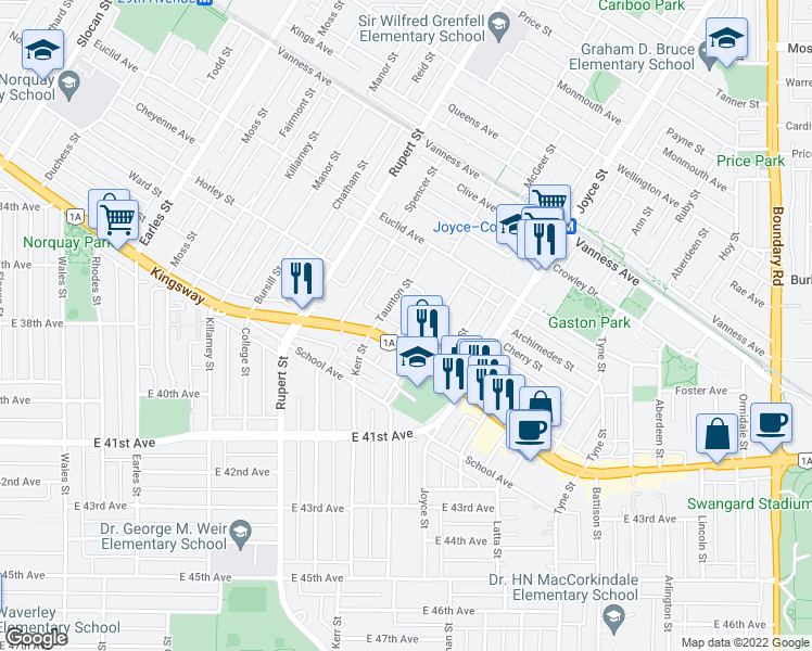 map of restaurants, bars, coffee shops, grocery stores, and more near 5372 McHardy Street in Vancouver