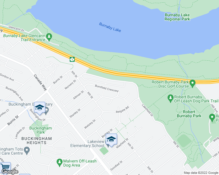 map of restaurants, bars, coffee shops, grocery stores, and more near 7983 Burnfield Crescent in Burnaby
