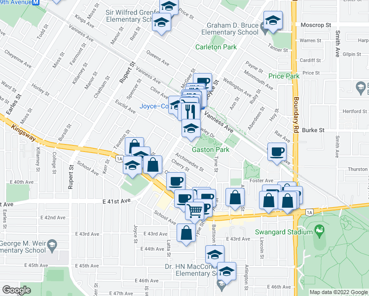 map of restaurants, bars, coffee shops, grocery stores, and more near 3410 Euclid Avenue in Vancouver
