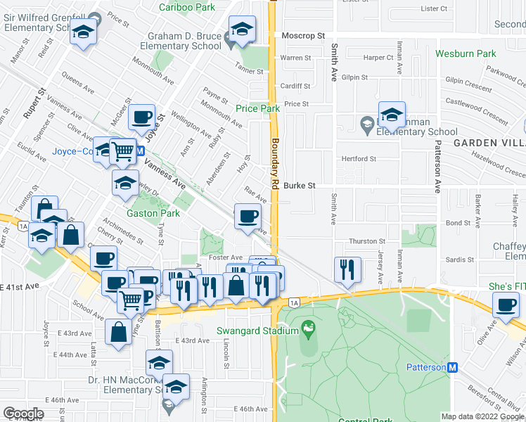 map of restaurants, bars, coffee shops, grocery stores, and more near 3680 Rae Avenue in Vancouver