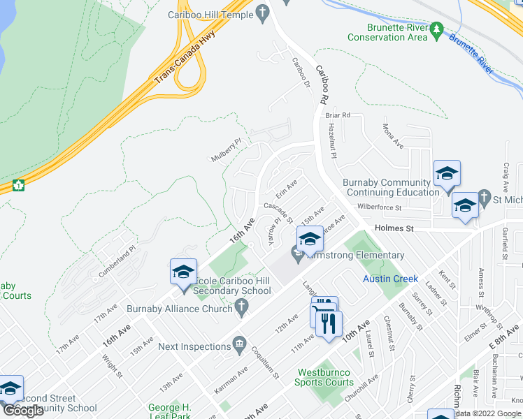 map of restaurants, bars, coffee shops, grocery stores, and more near 7503 Cascade Street in Burnaby