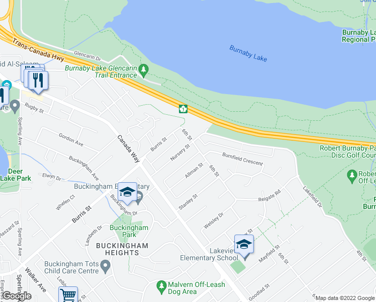 map of restaurants, bars, coffee shops, grocery stores, and more near 7874 Nursery Street in Burnaby