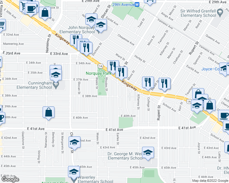 map of restaurants, bars, coffee shops, grocery stores, and more near 5365 Earles Street in Vancouver