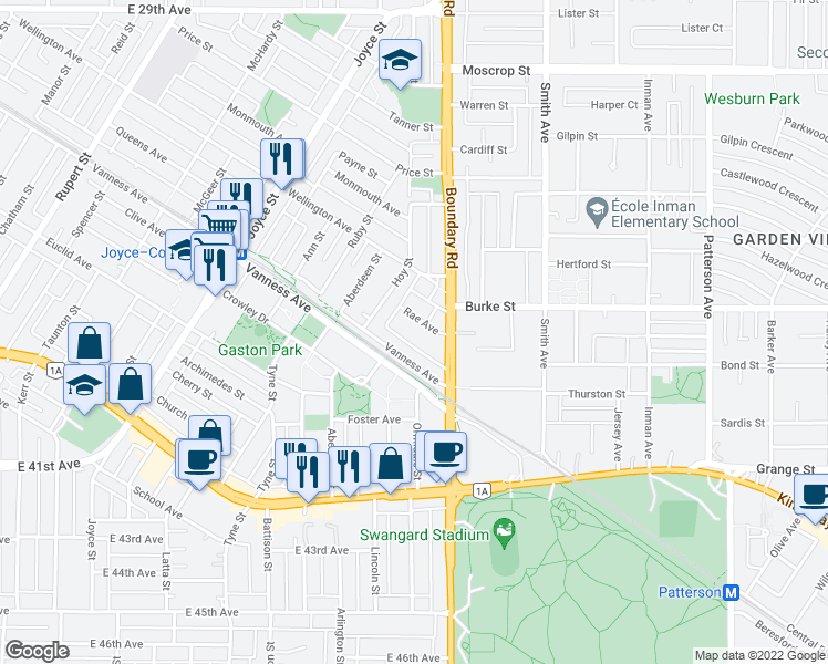 map of restaurants, bars, coffee shops, grocery stores, and more near 3638 Rae Avenue in Vancouver