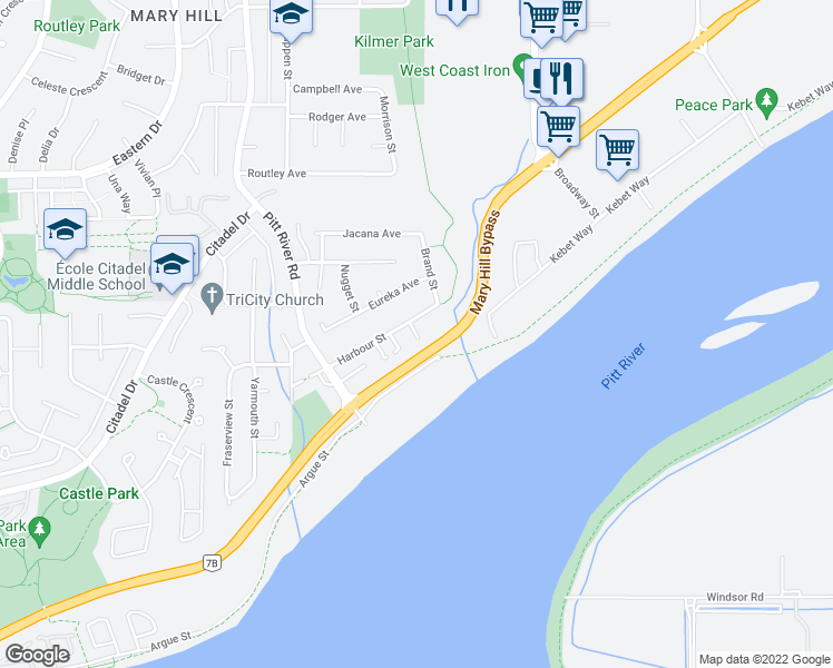 map of restaurants, bars, coffee shops, grocery stores, and more near 1838 Harbour Street in Port Coquitlam
