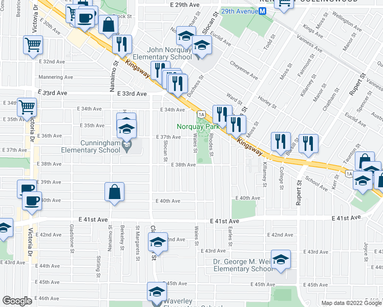 map of restaurants, bars, coffee shops, grocery stores, and more near 5329 Wales Street in Vancouver