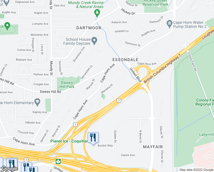 map of restaurants, bars, coffee shops, grocery stores, and more near 2391 Mariana Place in Coquitlam