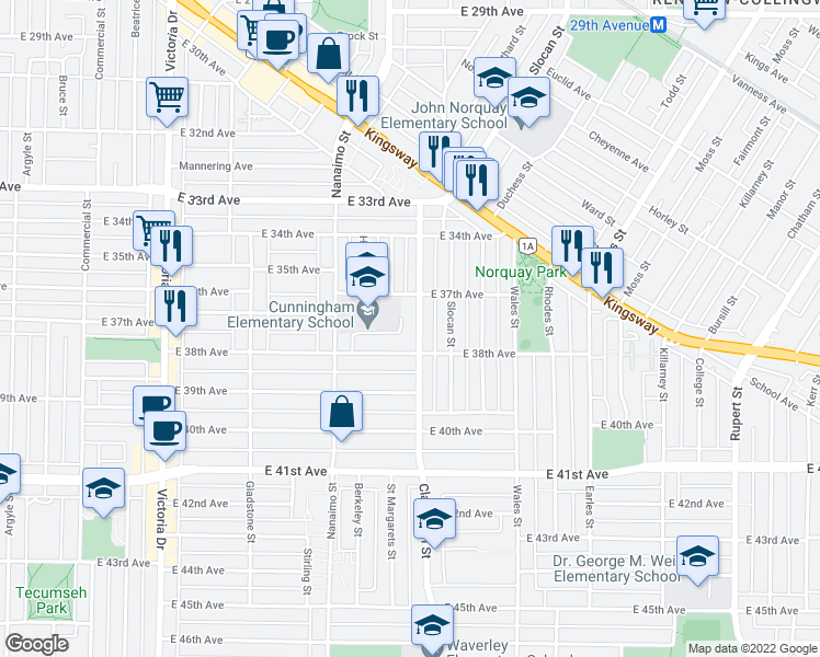 map of restaurants, bars, coffee shops, grocery stores, and more near 5323 Clarendon Street in Vancouver