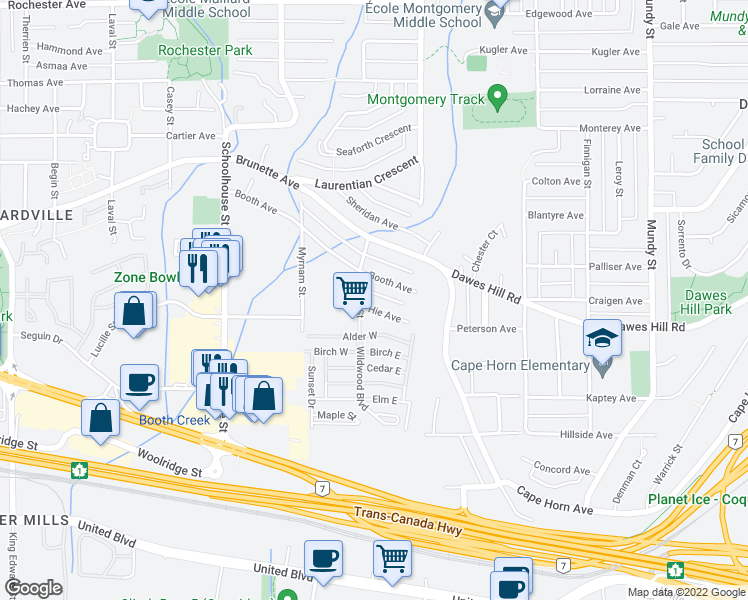 map of restaurants, bars, coffee shops, grocery stores, and more near 1721 Hie Avenue in Coquitlam