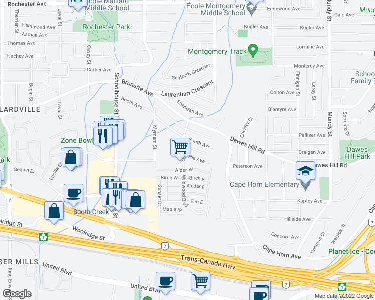 map of restaurants, bars, coffee shops, grocery stores, and more near 213 Cayer Street in Coquitlam
