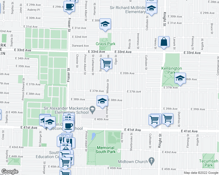 map of restaurants, bars, coffee shops, grocery stores, and more near 5310 Windsor Street in Vancouver