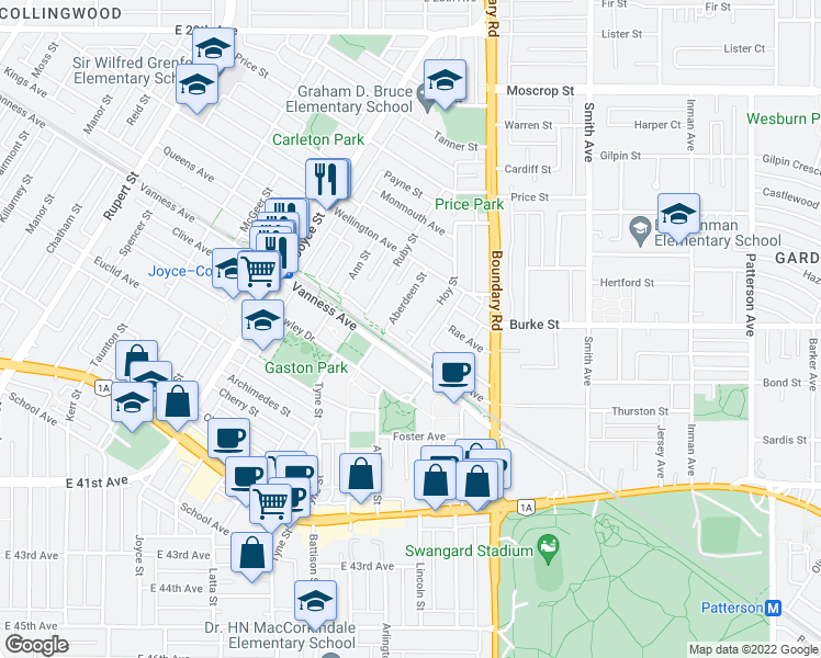map of restaurants, bars, coffee shops, grocery stores, and more near 5267 Hoy Street in Vancouver