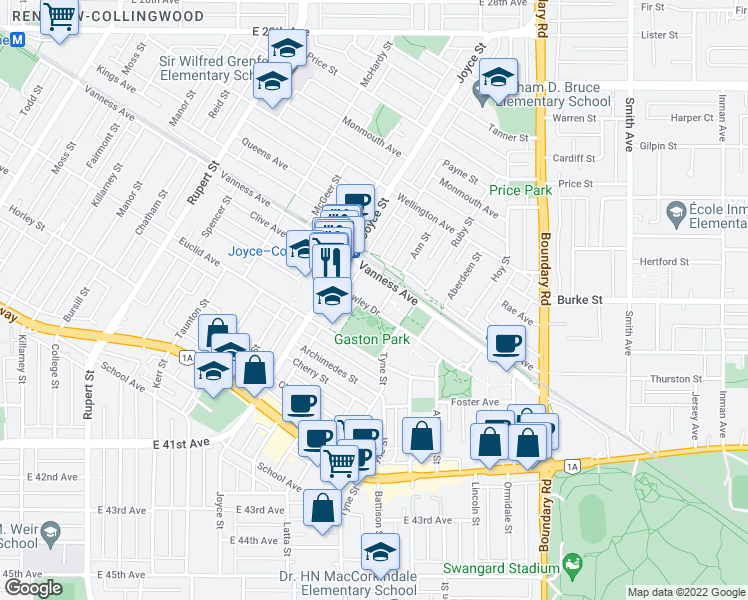 map of restaurants, bars, coffee shops, grocery stores, and more near 3463 Crowley Drive in Vancouver