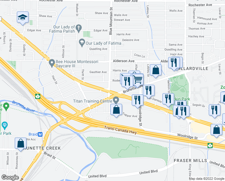 map of restaurants, bars, coffee shops, grocery stores, and more near 901 Lougheed Highway in Coquitlam