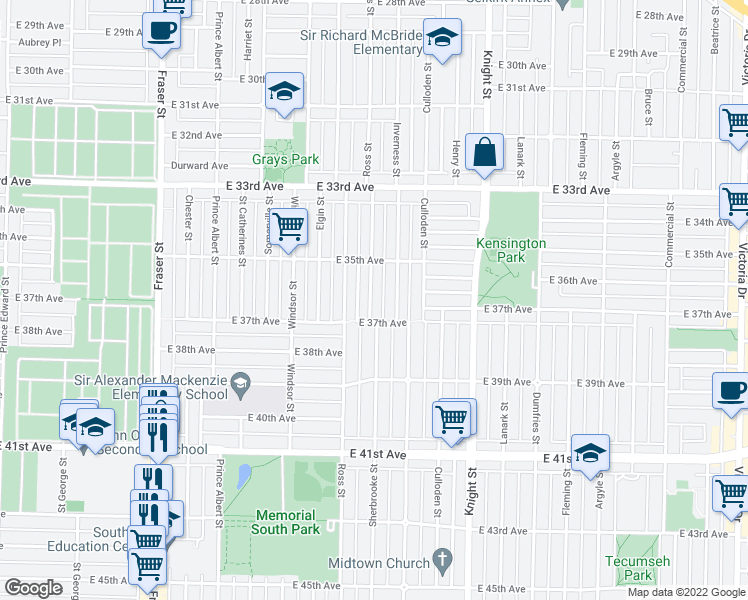 map of restaurants, bars, coffee shops, grocery stores, and more near 5284 Sherbrooke Street in Vancouver