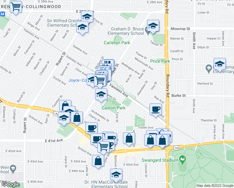 map of restaurants, bars, coffee shops, grocery stores, and more near 5189 Gaston Street in Vancouver