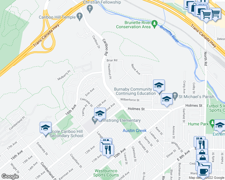 map of restaurants, bars, coffee shops, grocery stores, and more near 7620 Cariboo Road in Burnaby