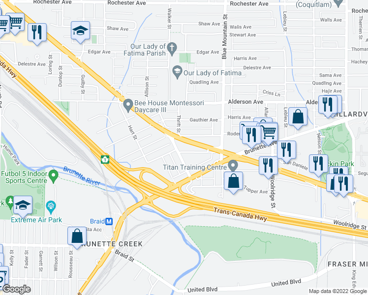 map of restaurants, bars, coffee shops, grocery stores, and more near 805 Henderson Avenue in Coquitlam