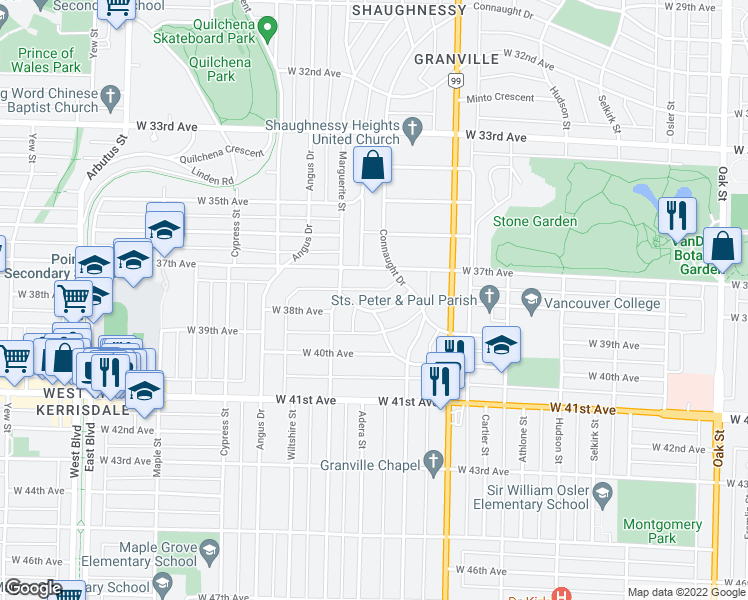 map of restaurants, bars, coffee shops, grocery stores, and more near 1663 Avondale Avenue in Vancouver