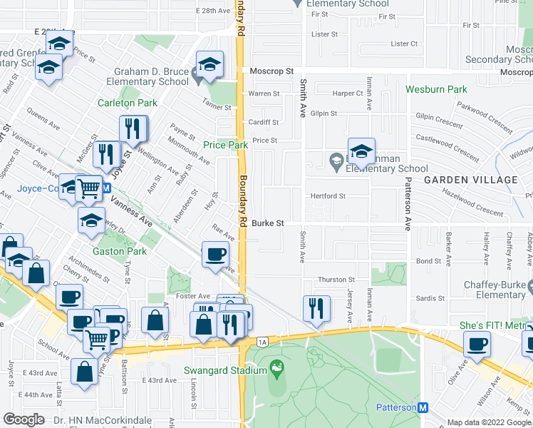 map of restaurants, bars, coffee shops, grocery stores, and more near 5180 Lorraine Avenue in Burnaby