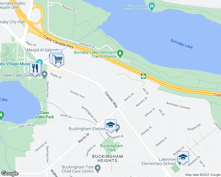 map of restaurants, bars, coffee shops, grocery stores, and more near 5831 Mayview Circle in Burnaby
