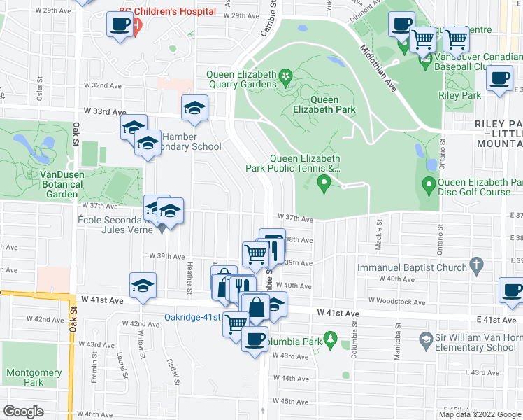 map of restaurants, bars, coffee shops, grocery stores, and more near 5289 Cambie Street in Vancouver