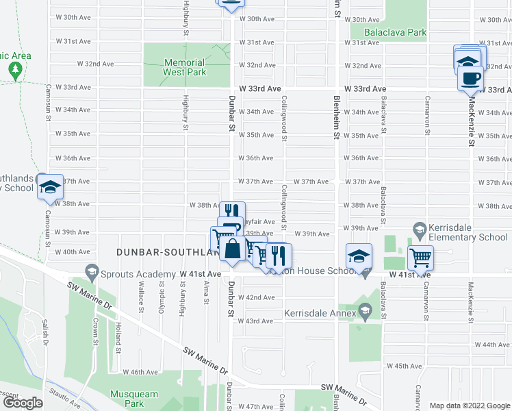 map of restaurants, bars, coffee shops, grocery stores, and more near 3556 West 38th Avenue in Vancouver
