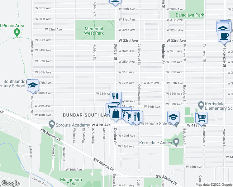 map of restaurants, bars, coffee shops, grocery stores, and more near 3594 West 38th Avenue in Vancouver