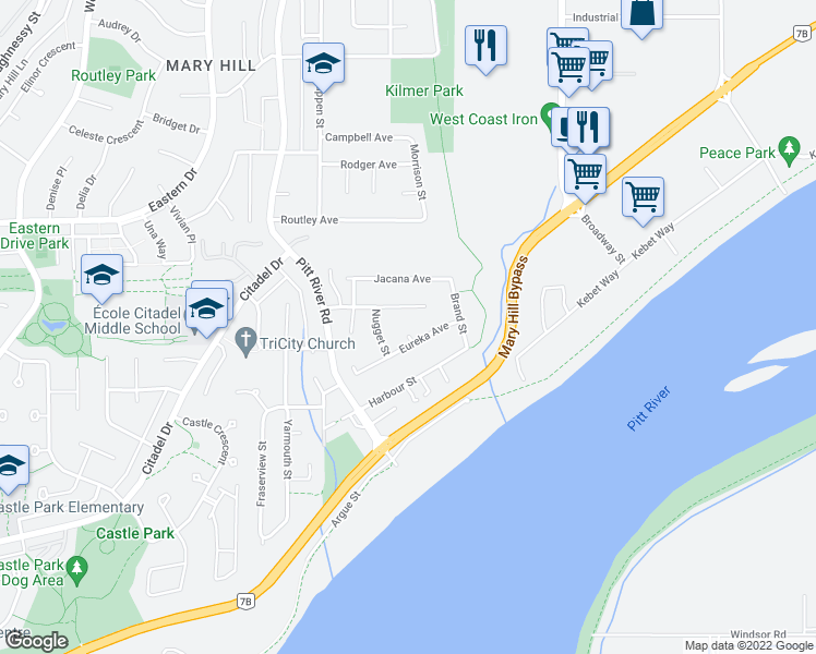 map of restaurants, bars, coffee shops, grocery stores, and more near 1249 Nelson Place in Port Coquitlam