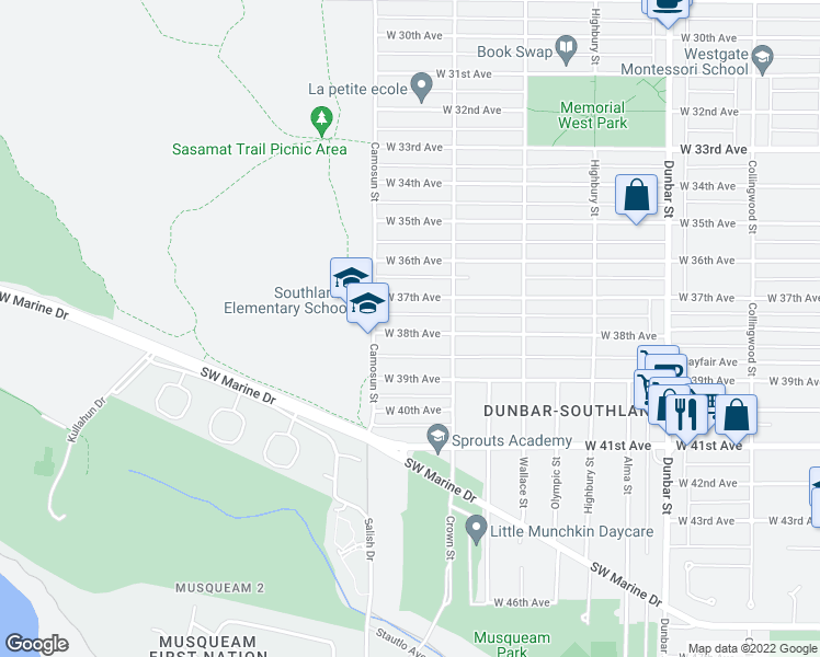 map of restaurants, bars, coffee shops, grocery stores, and more near 4051 West 38th Avenue in Vancouver