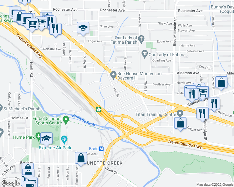 map of restaurants, bars, coffee shops, grocery stores, and more near 258 Hart Street in Coquitlam