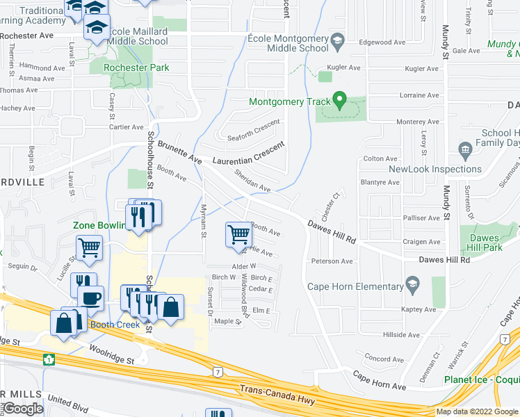 map of restaurants, bars, coffee shops, grocery stores, and more near 1714 Brunette Avenue in Coquitlam