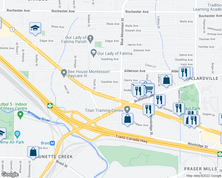 map of restaurants, bars, coffee shops, grocery stores, and more near 827 Roderick Avenue in Coquitlam