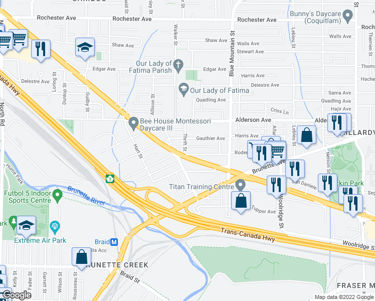 map of restaurants, bars, coffee shops, grocery stores, and more near 801 Roderick Avenue in Coquitlam