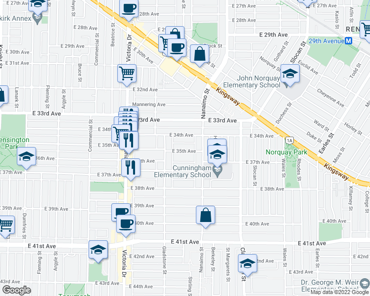 map of restaurants, bars, coffee shops, grocery stores, and more near 2251 East 35th Avenue in Vancouver