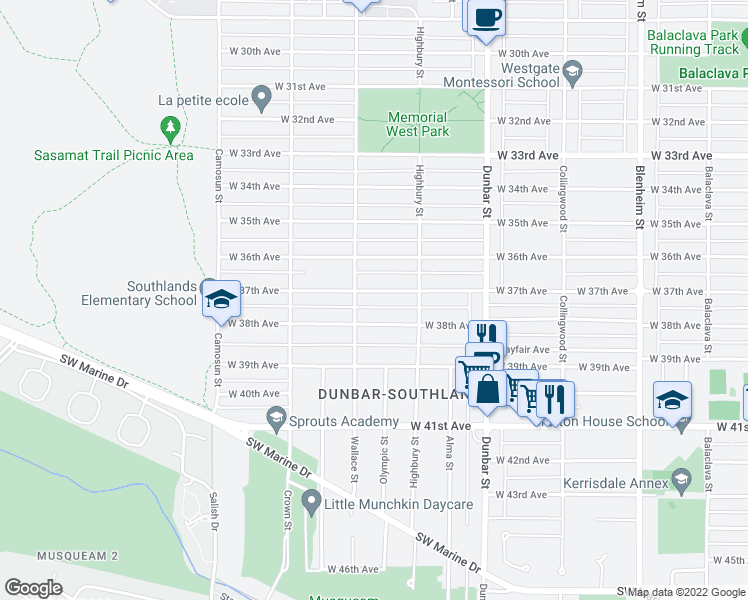 map of restaurants, bars, coffee shops, grocery stores, and more near 3870 West 37th Avenue in Vancouver