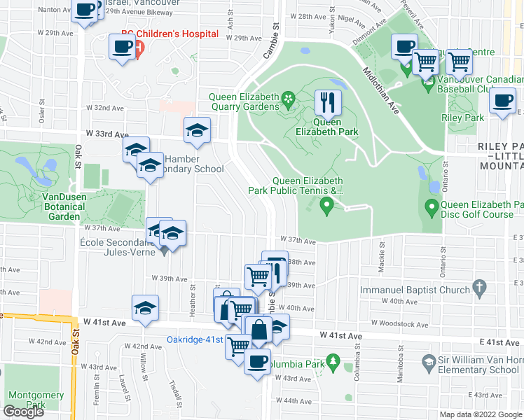 map of restaurants, bars, coffee shops, grocery stores, and more near 5189 Cambie Street in Vancouver