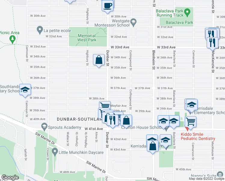 map of restaurants, bars, coffee shops, grocery stores, and more near 3582 West 37th Avenue in Vancouver