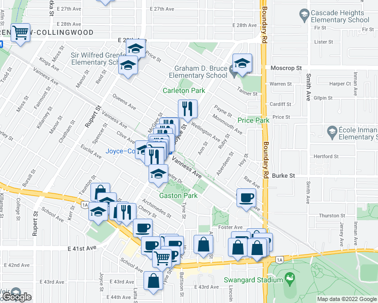 map of restaurants, bars, coffee shops, grocery stores, and more near 5066 Payne Street in Vancouver