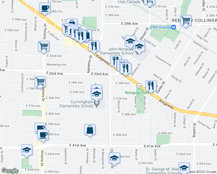 map of restaurants, bars, coffee shops, grocery stores, and more near 5005 Clarendon Street in Vancouver